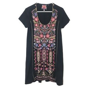 JOHNNY WAS | Embroidered Black Scoop Neck Dress S